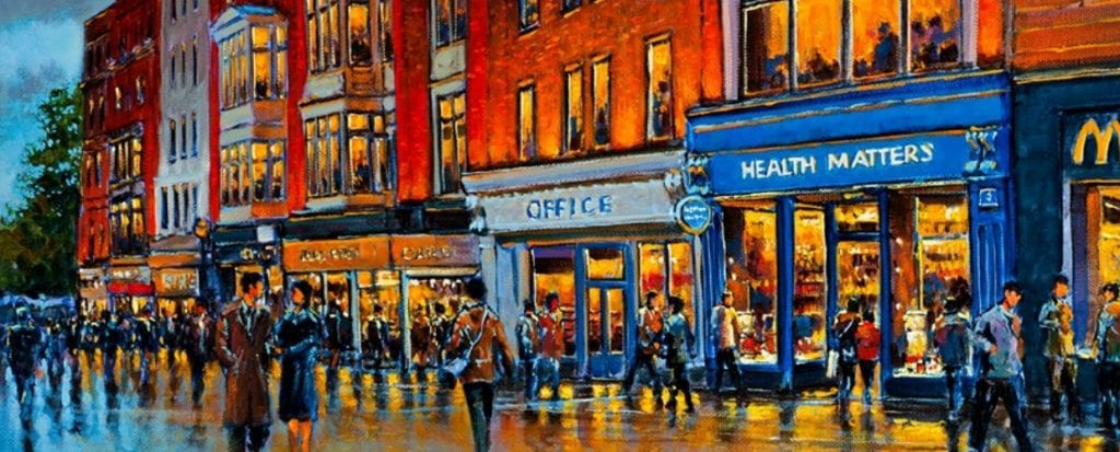 Painting of Health Matters Health Store on Grafton st. Dublin