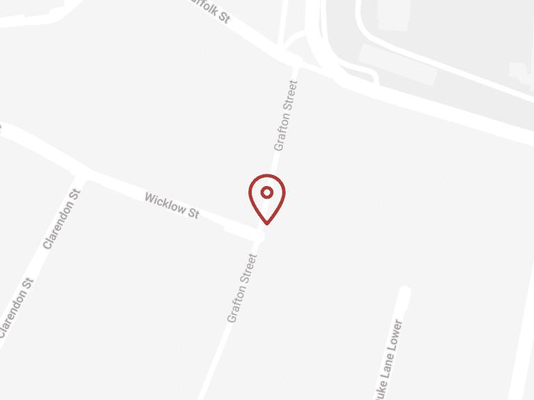 Grafton Street map with pin: 8 Grafton Street, Dublin, D02 PK76
