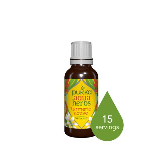 Pukka Aqua Herbs Turmeric Active bottle